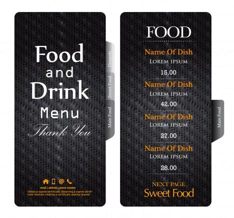 dark black restaurant menu template