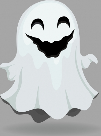 decorated ghost icon funny style white 3d design