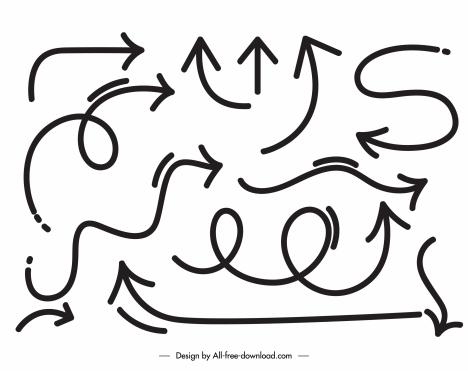 decorative arrow signs dynamic handdrawn sketch
