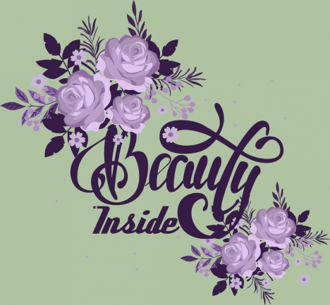 decorative background beauty theme violet flowers calligraphic design