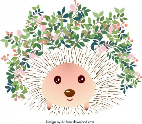 decorative background hedgehog flower icons decor