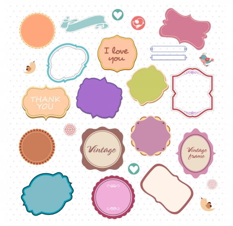 Decorative frames collection with various colored shapes vectors ...