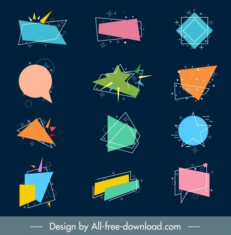 decorative label templates collection dynamic sparkling geometric shapes