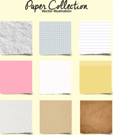 decorative paper icons collection multicolored squares isolation