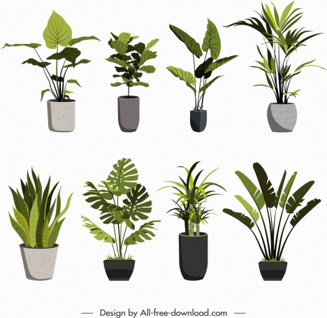 Decorative Plants Icons Green Leaf Porcelain Pots Sketch Vectors