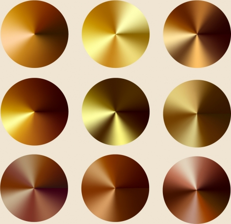 decorative round icons shiny golden brown design