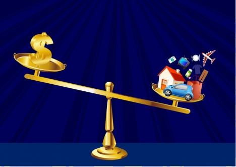 demand concept golden balance consumption icons decoration