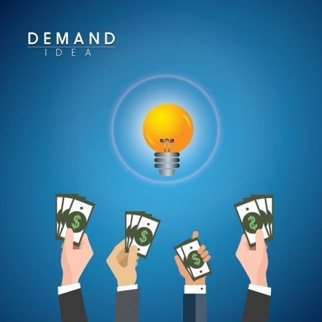 demand idea concept bright light bulb money icons