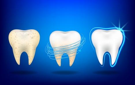 Dental Advertisement Teeth Icon White Blue Design Vectors Stock