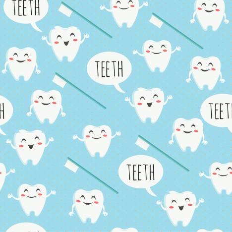 dental background stylized tooth brush icons repeating design