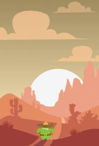 desert landscape drawing stylized cactus icon decoration
