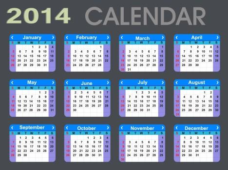 Detailed 2014 Calendar