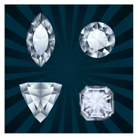 Diamonds in various shapes