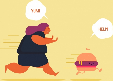 diet banner fat woman stylized food icons