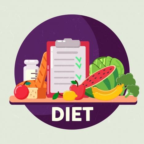 diet banner vegetables checklist food icons