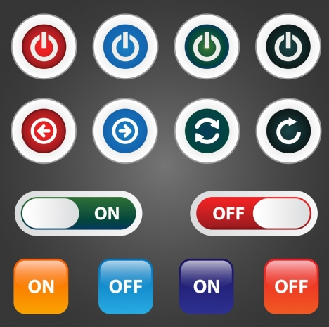 digital button sets various shiny shapes