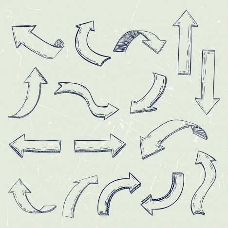 direction design elements various shapes isolation handdrawn design