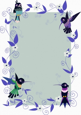 document border template flower sparrows icons decoration