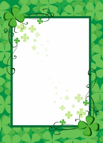 document border template green flowers decoration