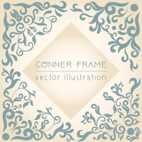 document corner frame template classical flat curves decor