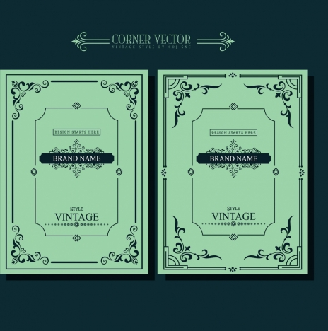 document decoration templates classical corner design dark green