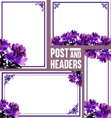 document decorative design elements purple flowers decor