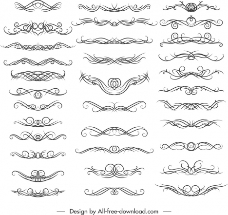 document decorative elements collection swirled symmetrical lines sketch