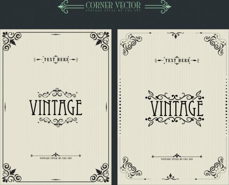 document decorative templates vintage corner decor