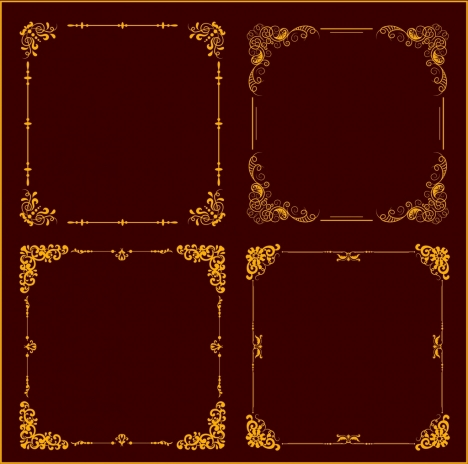 document frame templates classical yellow decoration