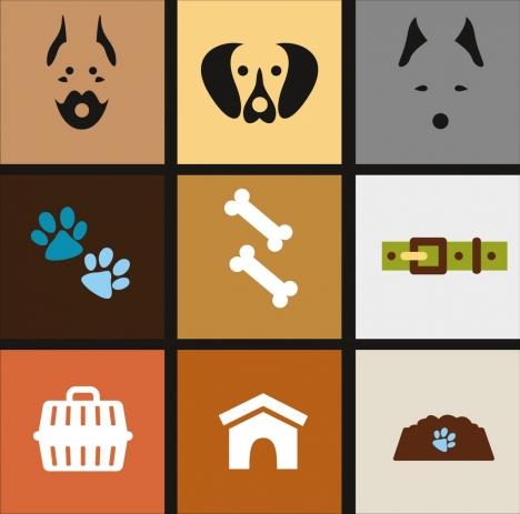 dog icons design elements colored flat isolation