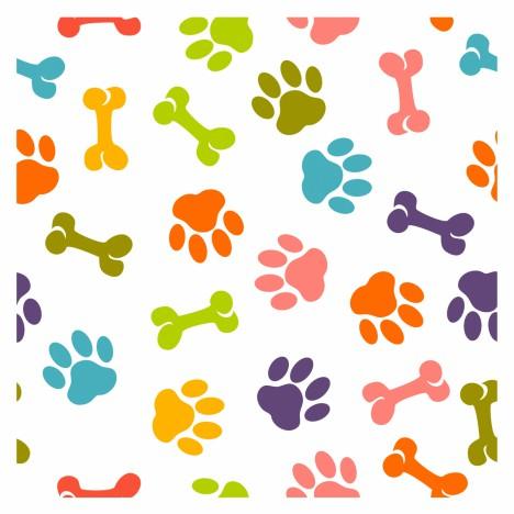 Dog paw seamless pattern