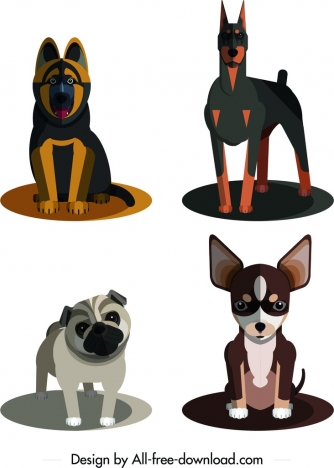 dog species icons colored 3d design