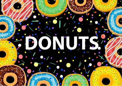 donuts background colorful round cakes icons