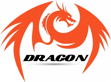 dragon icon orange hand drawn style