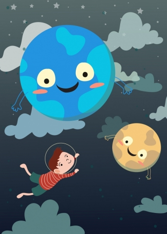 dream background flying kid stylized planets icons