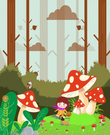 dream background girl giant mushroom icons multicolored cartoon