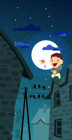 dream background joyful kid birds moonlight icons