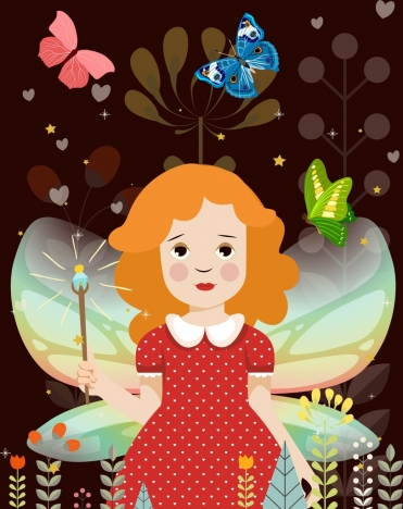 dreaming background cute fairy girl butterflies flowers icons