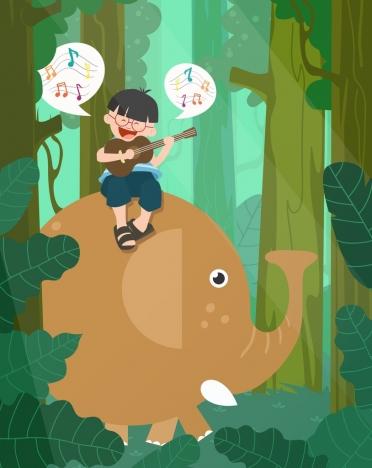 dreaming background joyful boy riding elephant colored cartoon