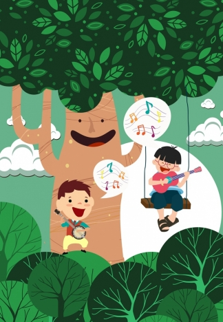 dreaming background joyful boys stylized tree colored cartoon