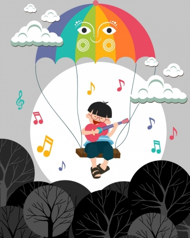 dreaming background singing kid colorful umbrella icons design