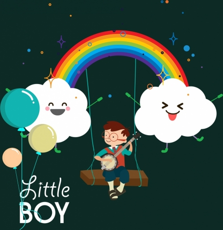 dreaming background stylized cloud rainbow little boy icons