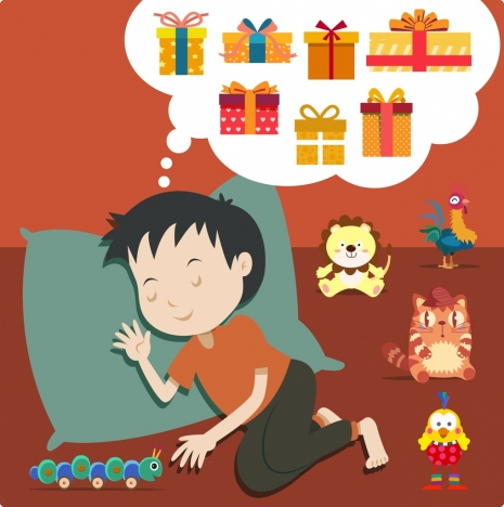 dreaming drawing sleeping kids toys present boxes icons