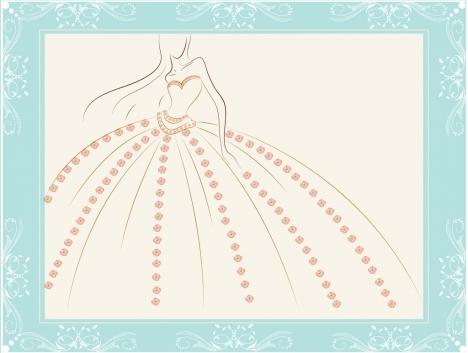 dress design sketch model icon flowers decoration