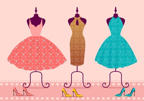 dress icons sets various colored sketch