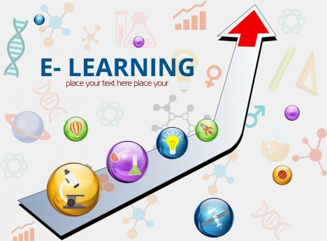 e learning banner 3d arrow colorful circles decoration