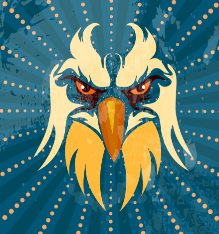 eagle background facial icon sparkling rays style