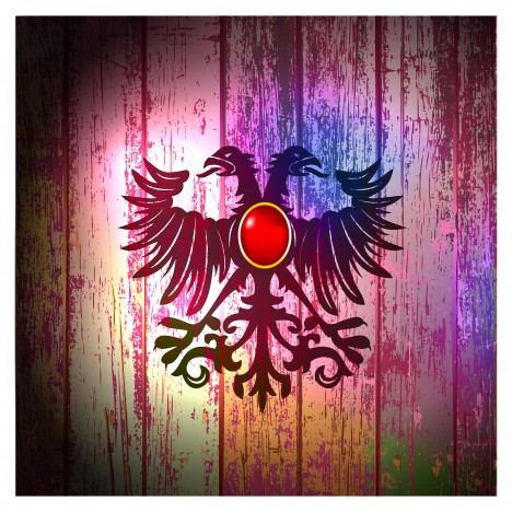 eagle symbol on old wooden background