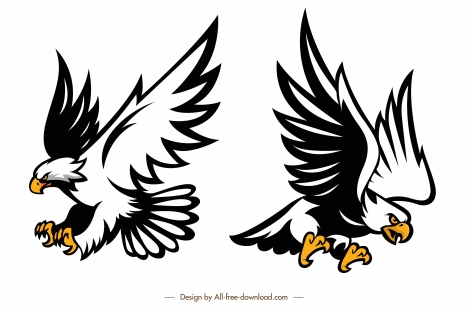 eagles icons flying hunting gesture dynamic sketch