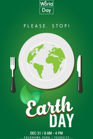 earth day banner green earth decorated dish icons